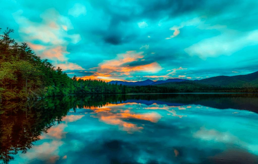 Chocorua Lake, New Hampshire showing a great fishing spot: New Hampshire fishing license required